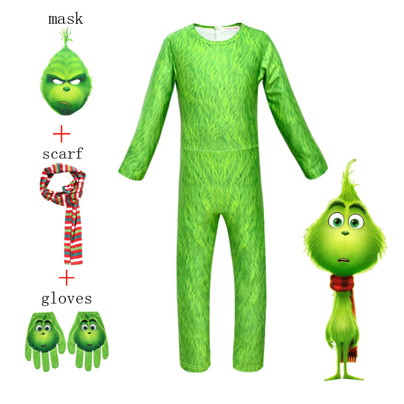 The Grinch Halloween Jumpsuits Boys Cosplay Creative Costume Girls Character Onesies Outfit Stage Clothing Kids Suit Jumpsuit,Mask,Scarf Gloves 4Pcs