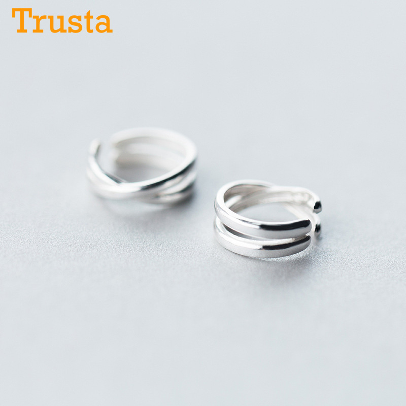 Trusta  2pcs 100% 925 Sterling Silver Clip On Earrings Ear Cuff  For Women Girl Lady Without Piercing Earring Jewelry DS534