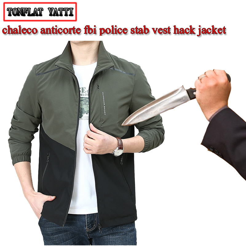 2019 Autumn Men Self-defense Anti-cutting Stab-resistant Jacket Police Fbi Urban Leisure Safety Self-defense Invisible Clothing