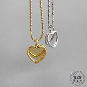 Image 1 - LouLeur 925 Sterling Silver podwójny naszyjnik w kształcie serca ins stylowe złoty wisiorek romantyczny naszyjnik dla kobiet moda elegancka biżuteria na prezent