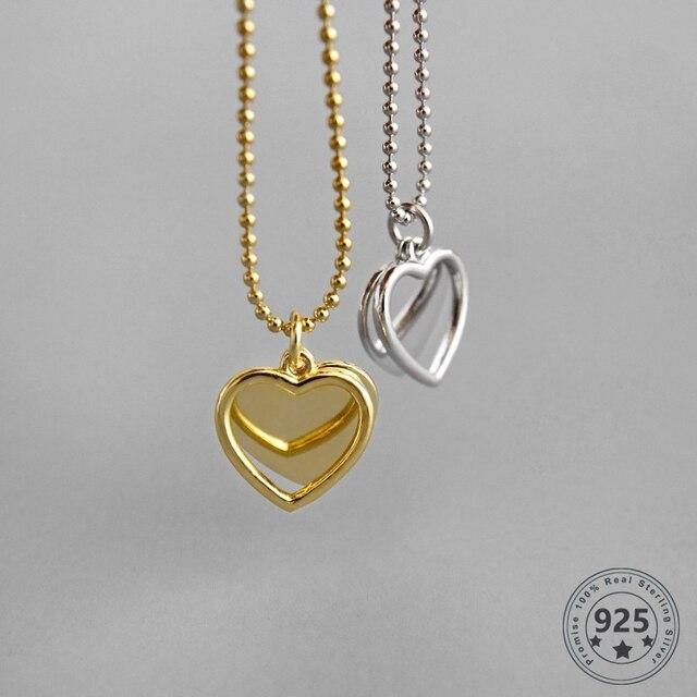 LouLeur 925 Sterling Silver podwójny naszyjnik w kształcie serca ins stylowe złoty wisiorek romantyczny naszyjnik dla kobiet moda elegancka biżuteria na prezent