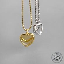 Louleur 925 prata esterlina duplo coração colar ins estilo pingente de ouro romântico colar para mulheres moda jóias finas presentes