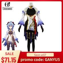 Rolecos genshin impacto ganyu cosplay trajes genshin impacto cosplay trajes ganyu traje feminino vestido conjunto completo jogo cosplay