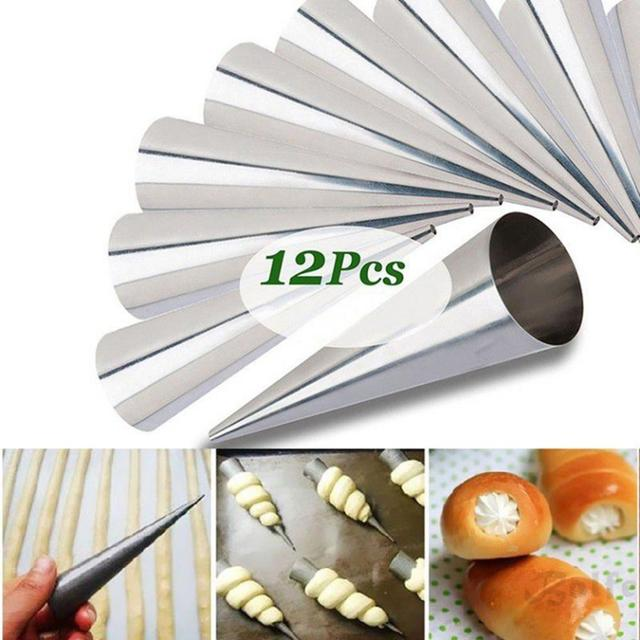 12pcs/set Conical Tube Cone Roll Moulds Stainless Steel Spiral Croissants Molds Pastry Cream Horn Cake Bread Mold Baking Tool