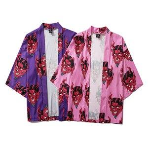 Женский кардиган с принтом японского демона Bebovizi, летний Свободный кардиган в стиле Харадзюку, Повседневная рубашка, кимоно