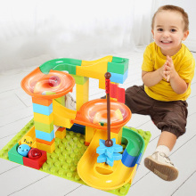 56-76 PCS Marble Race Run Block Compatible LegoINGlys Duploed Building Blocks Funnel Slide DIY Bricks For Children Toys
