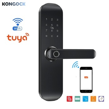 Tuya APP electronic wireless smart door lock, WIFI Remote Control RFID Card digital Code Unlock for home apartment airbnb hotel