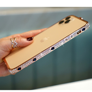 Image 3 - Shining Diamond Gliter phone cases for iPhone 11 PRO MAX X XS XR 6 7 8 plus metal Jewelry bumper bling covers for iphone capas