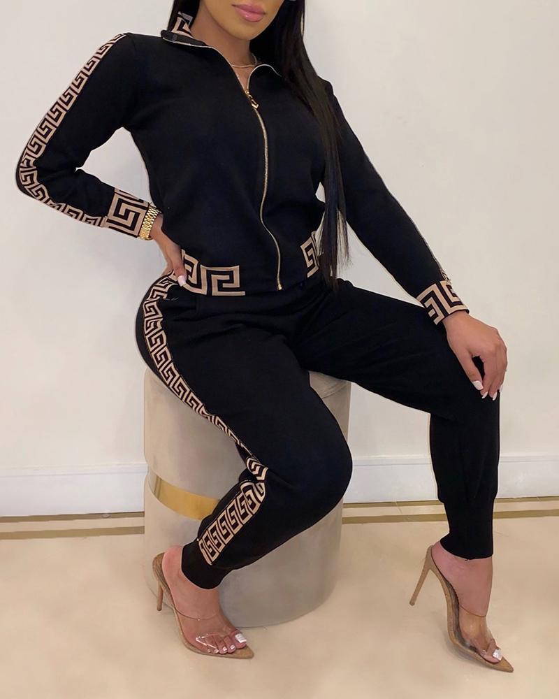 2020 Tracksuits Women Elegant Two-Pieces Suit Sets Female Stylish Plus Size Greek Fret Print Coat & Pant Zip Sets Joggers Women 1