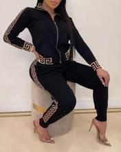 2020 trainingsanzüge Frauen Elegante Zwei-Stück Anzug Sets Weibliche Stilvolle Plus Größe Griechischen Fret Druck Mantel & Hose Zip sets Jogger Frauen