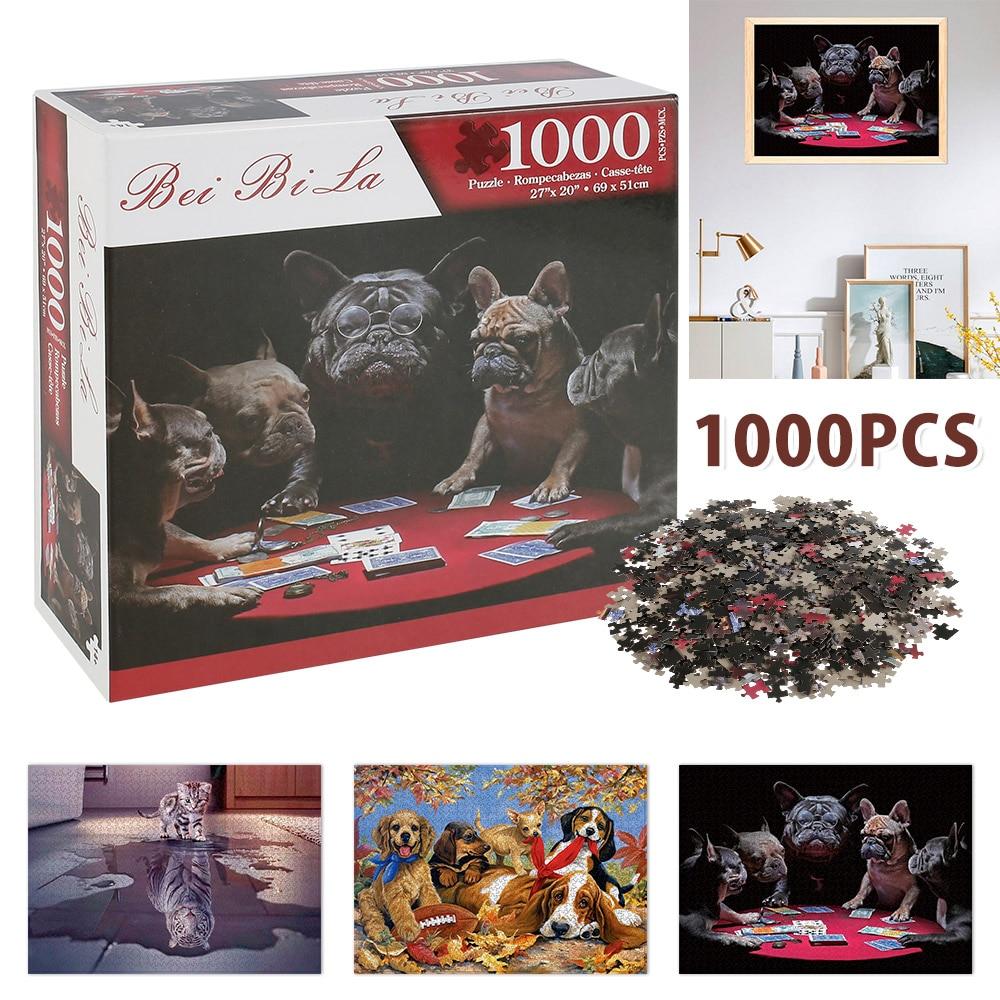 1000 조각 지그 소 퍼즐 풍경 동물 시리즈 퍼즐 게임 완구 어린이 선물 DIY 교육 대화 형 장난감 감압
