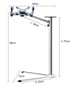 UP-7 Height Adjustable Laptop Floor Stand Aluminum Alloy Rotating Notebook Bed Holder with Mouse Tray for MacBook 10-17 inch