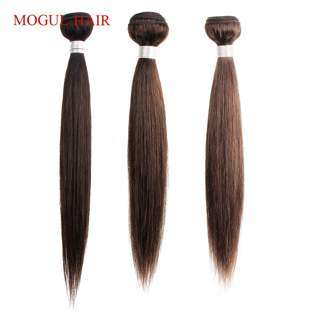 Mogul Hair Indian Hair Weave Bundles Straight Bundles Color 4 Chocolate Brown Black Non Remy Human Hair Extension 10-26 Inch