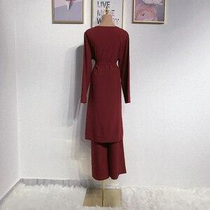 Image 2 - アバヤドバイイスラム教徒ヒジャーブドレスカフタンarabes mujerカフタントルコイスラムの服アンサンブルファムmusulmane 2個