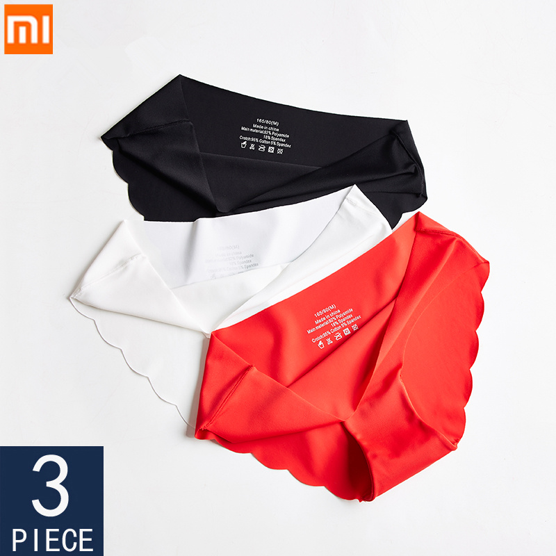 3 Pcs Xiaomi Seamless Panties Woman Soft Underwear Sexy Briefs Solid Female Panty Hot Sale Ladies Underpants For Women M-XXL New