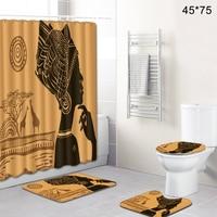 4 Pcs Shower Curtain Bathroom Toilet Bath Mats Carpet Soft Flexible Absorption Home Decor Foot Pads African Women Polyester Rugs