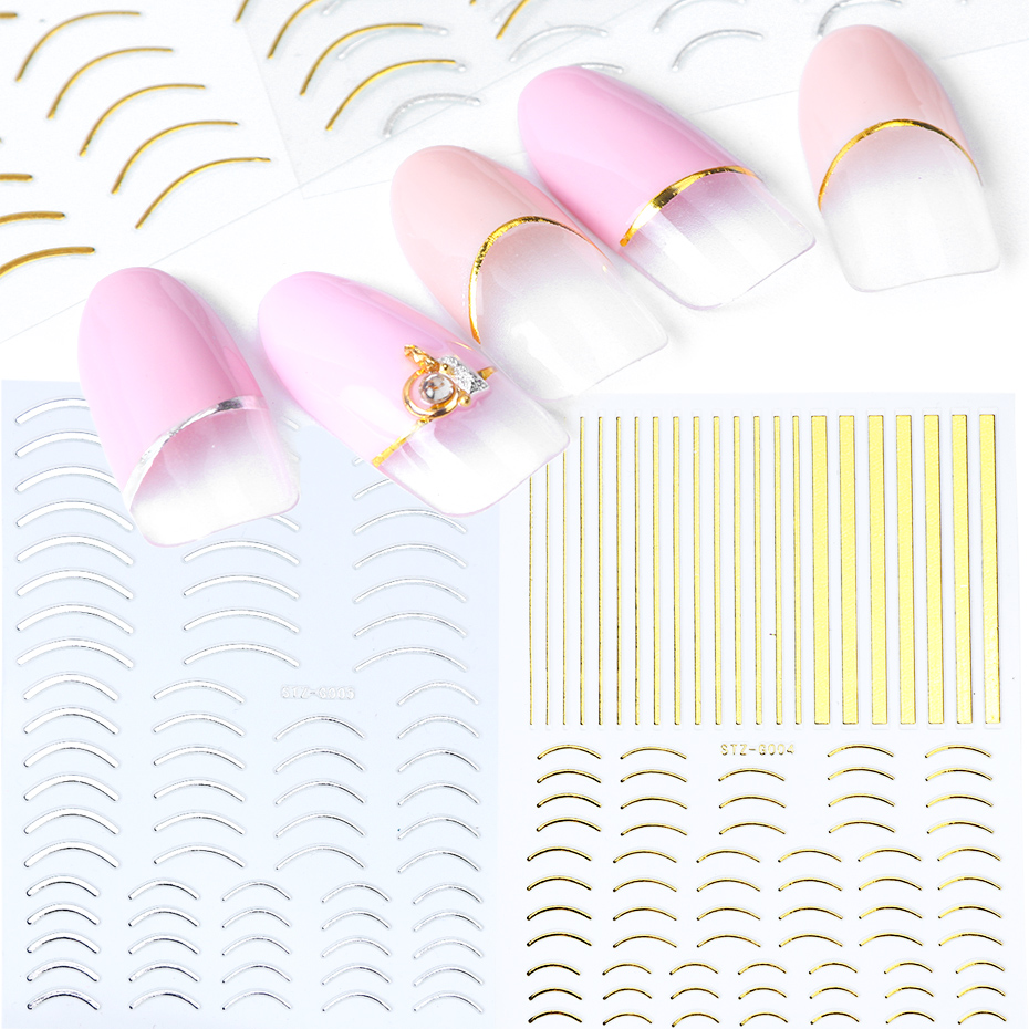 1pcs Nail Sticker Gold Silver Metal Curve Strip Lines Adhesive Striping Tape Multi-size 3D Stickers For Manicure JISTZ-G001-013