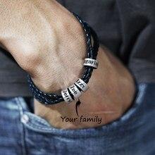 Pulsera trenzada de cuero genuino para hombre, brazalete personalizado con nombre, joyería de With2-5Name, regalo del Día del Padre