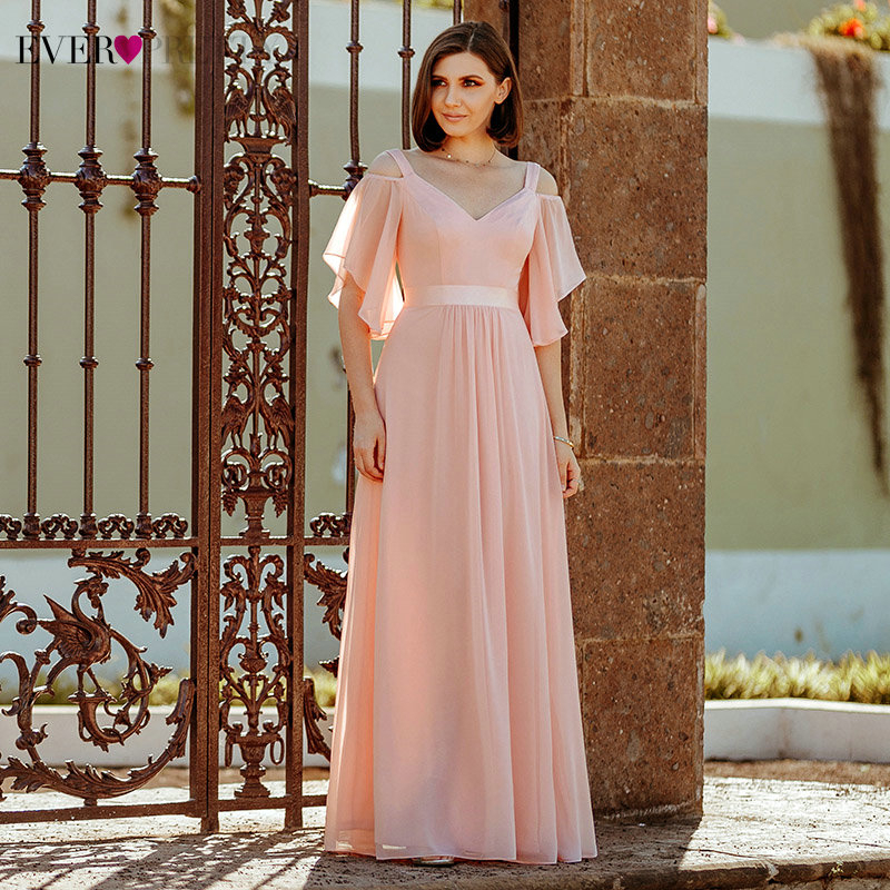 Ever Pretty Elegant Pink Evening Dresses Long A-Line Off The Shoulder V-Neck Sexy Formal Party Gowns EP07871PK Abendkleider 2020