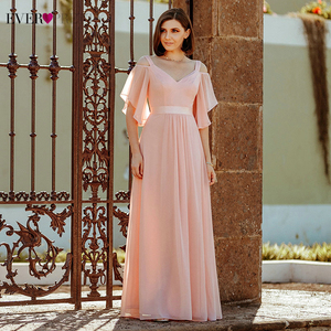 Image 1 - Ever Pretty Elegant Pink Evening Dresses Long A Line Off The Shoulder V Neck Sexy Formal Party Gowns EP07871PK Abendkleider 2020