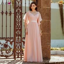 Sempre muito elegante rosa vestidos de noite longo a linha fora do ombro v neck sexy formal vestidos de festa ep07871pk abendkleider 2020