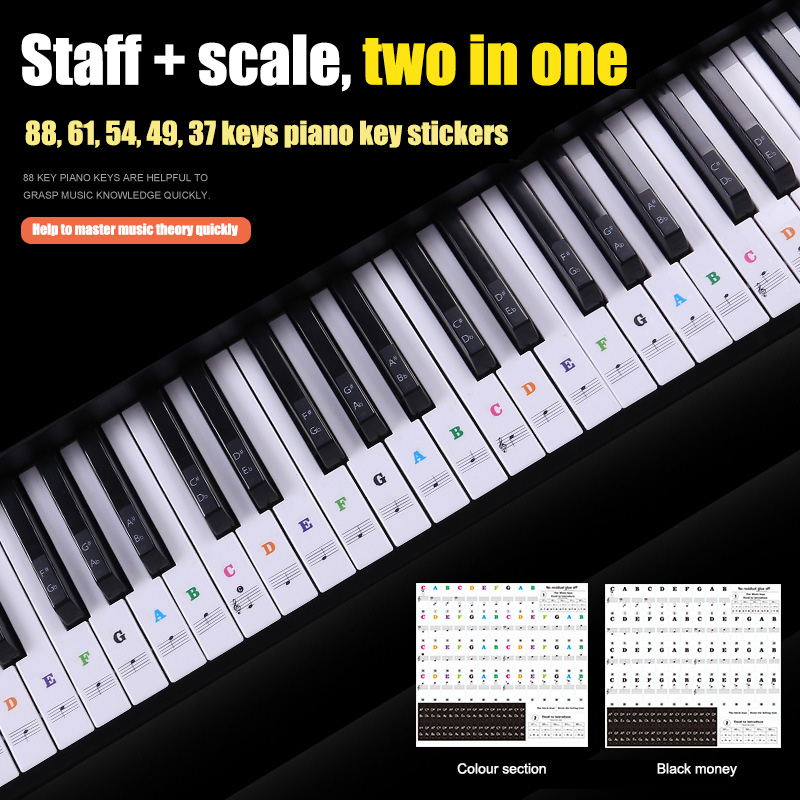 Music Keyboard Piano Stickers Transparent Removable For 37 49 54 61 88 Keys Keyboards ALS88
