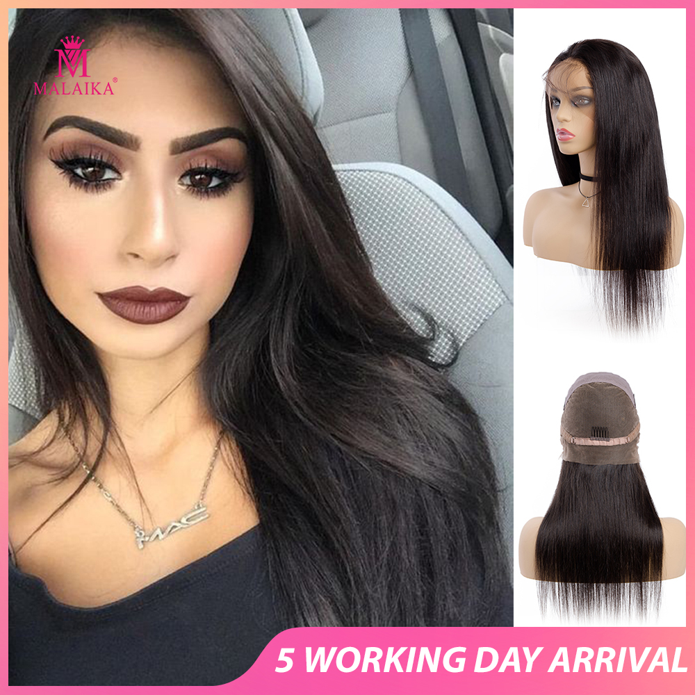 MALAIKA Full Lace Human Hair Wigs Pre Plucked With Baby Hair Brazilian Straight Glueless Hair Wig For Black Women