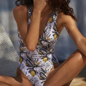 Image 4 - In x seksowny kwiatowy print strój kąpielowy jednoczęściowy zasznurować stroje kąpielowe kobiety rękaw vintage monokini V neck bikini 2019 kombinezon bez pleców