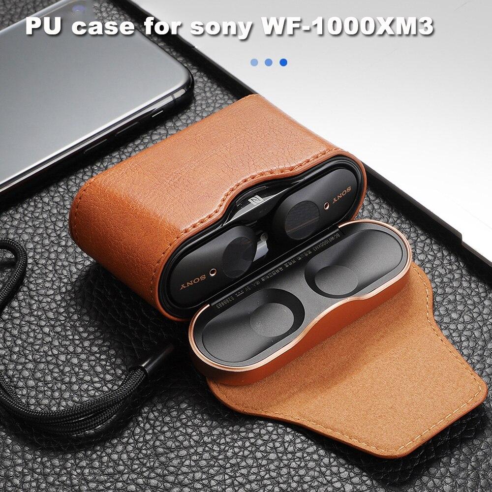 JINSERTA-funda magnética de cuero PU para WF-1000XM3, Protector de cuero PU para auriculares Bluetooth, protección de cuerpo completo para WF-1000XM3