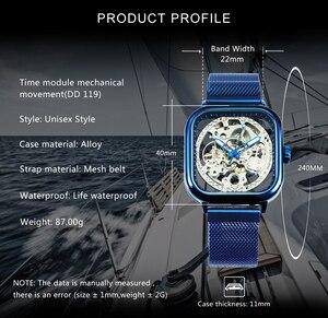 Image 2 - WINNER montre officielle bleue pour hommes, marque de luxe, bracelet mécanique automatique, sculpté avec aimant, bracelet en maille, squelette