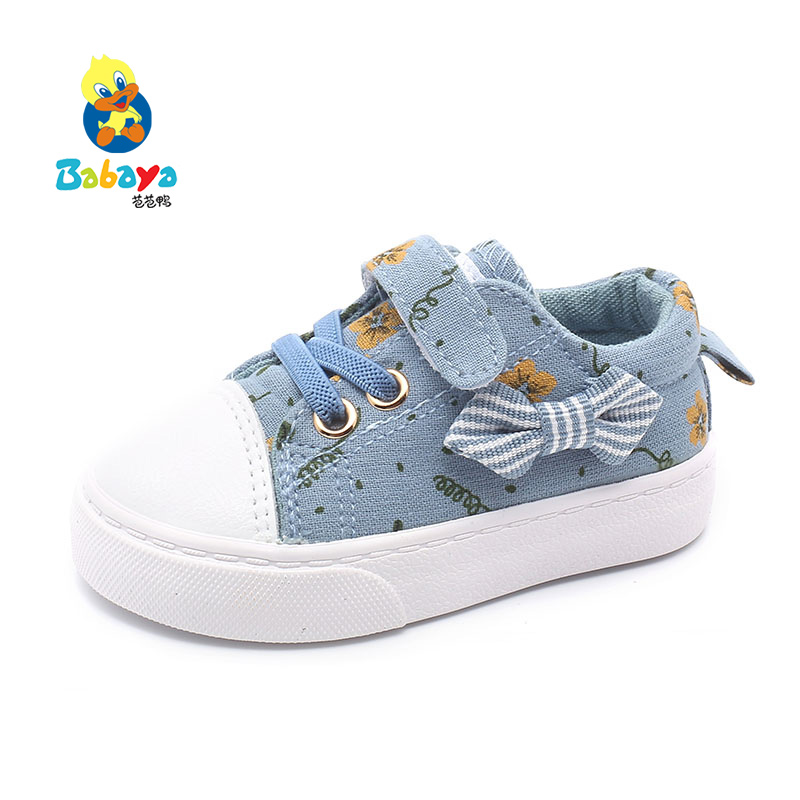 Babaya Baby Girls Shoes 2019 Autumn New Soft Bottom Bow-knot Children's Canvas Shoes Baby Shoes Girl Lovely Princess Shoes