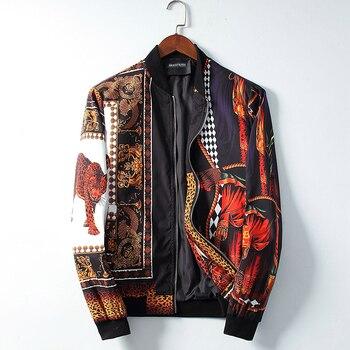 seestern brand 2019 new Fashion leopard print flower men jacket religion angel pattern coat classic black crown jacker man tops