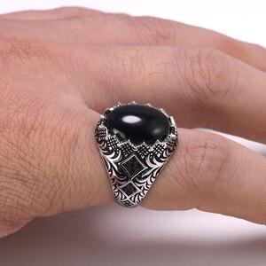 Image 3 - מובטח 925 סטרלינג כסף שחור טבעות רטרו בציר פרחים תורכי טבעת תכשיטי עבור גברים עם אבן טורקיה תכשיטים