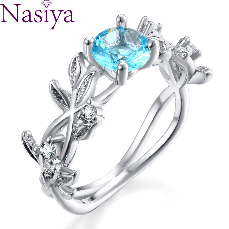 Aquamarine Gem Lucky Flower Branch Ring 925 Silver Gemstone Women's Ring Fine Jewelry Wholesale