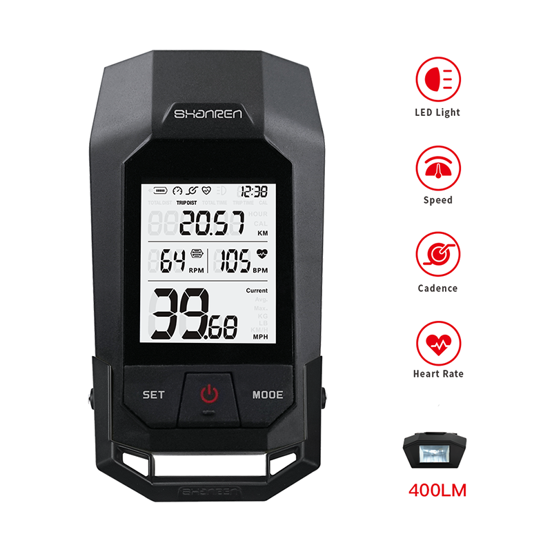shanren wireless cycling odometer bicycle computer road mtb bike race watch speed cadence heart rate sensor power meter BLE Lamp image