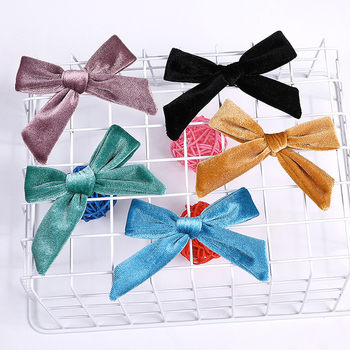 Kids Baby Velvet Knotted Bow Hair Clip Solid Color Baby Children Hairpin Girls Boy Barrettes Hair Clip Soft Hair accessories Hot image
