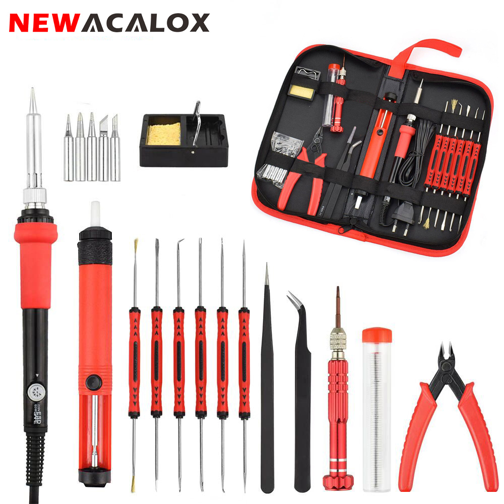 NEWACALOX 110V 220V 60W Thermoregulator Electric Soldering Iron Kit Screwdriver Desoldering Pump Tip Wire Pliers Welding Tools
