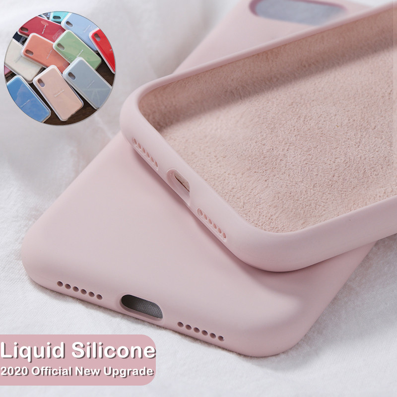 Official Liquid Silicone Phone <font><b>Case</b></font> for <font><b>iphone</b></font> X XS MAX XR 7 8 6 <font><b>6S</b></font> Plus 11 Pro Max Soft Shockproof Cover Full Protective <font><b>Case</b></font> image