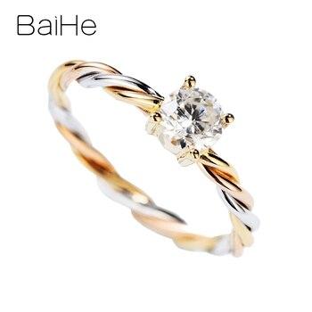 BAIHE Solid 14K White+Yellow+Rose Gold 0.50ct H/SI Round Natural Diamond Jewelry Wedding Women Exquisite beautiful Diamond Ring 2