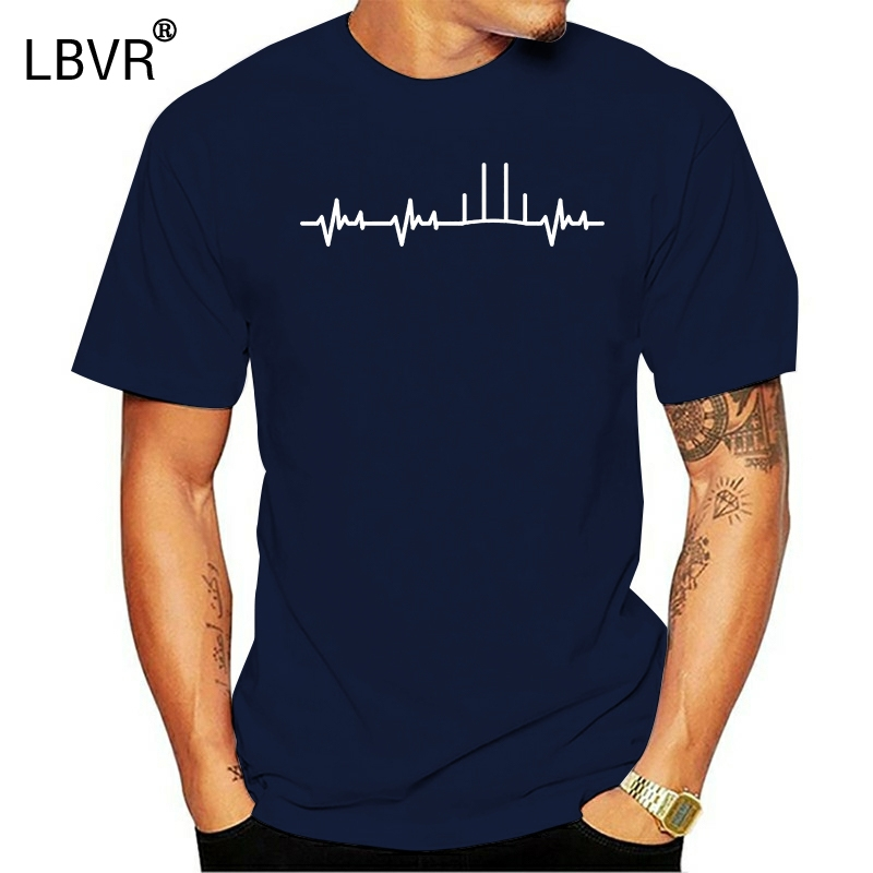 Tee Shirt for Men O-Neck Tops Male New Fashion for Men Short Sleeve Afl Heartbeat Stylisches Hipster Tee(China)