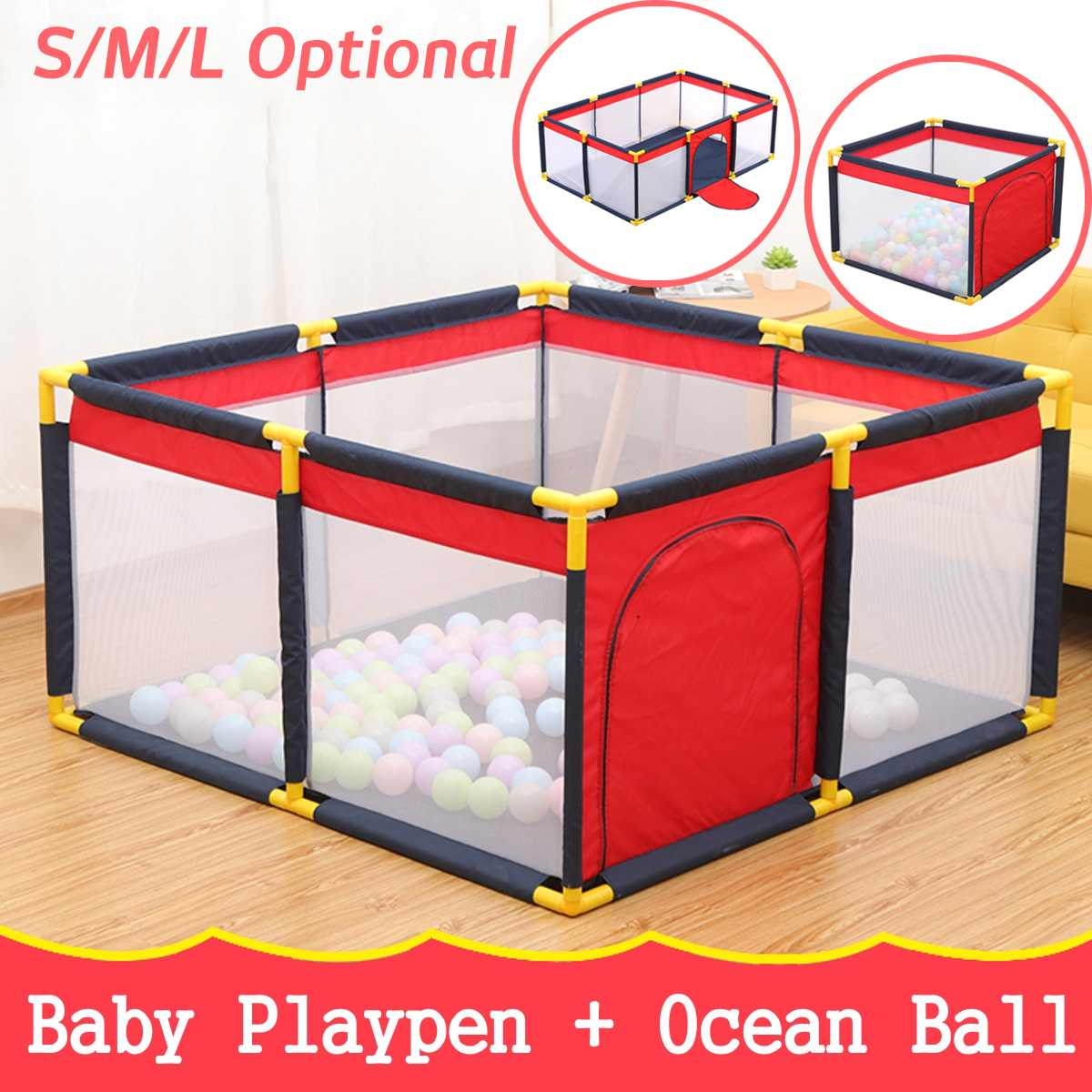New Portable Children's Playpen Baby Safety Fence Folding Play Fence With 100Pcs Ocean Balls