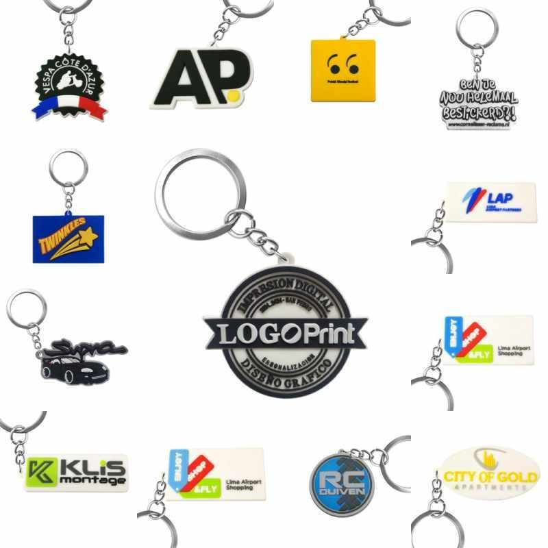 Cadena de bolas de PVC personalizada llaveros su propio diseño de negocio logotipo diseño personalizado Cadena de bolas de Metal para venta al por mayor