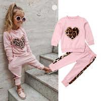 Conjuntos de ropa de invierno 6M-5Y para niño pequeño, Chico, niña, conjuntos de ropa de invierno, camisetas de leopardo de manga larga rosa, equipo de pantalones largos, chándal