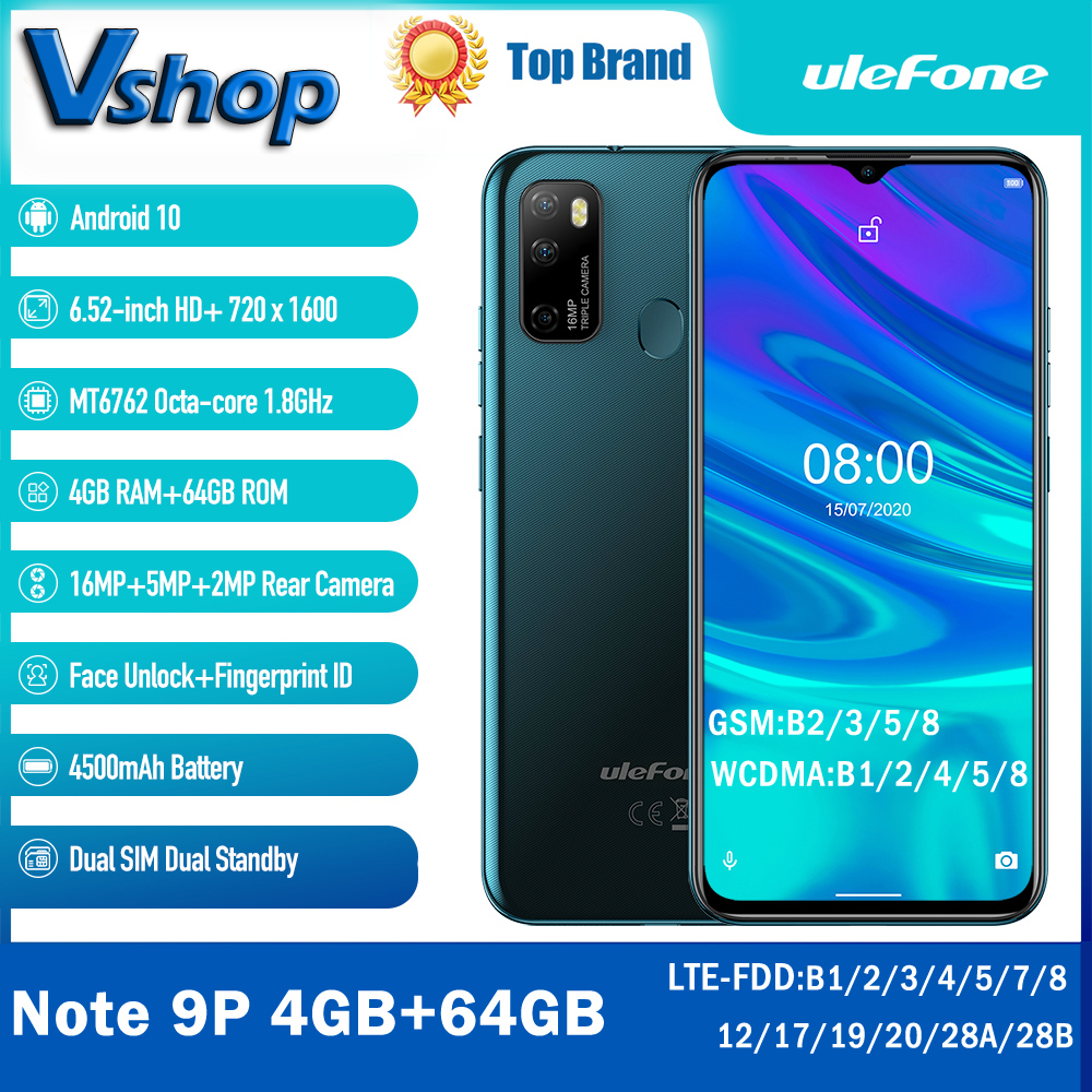 Ulefone Note-9p 4GB 64GB 4gbb GSM/WCDMA/LTE Adaptive Fast Charge Octa Core Fingerprint Recognition/face Recognition