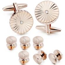 Cufflinks Studs-Set Wedding-Accessories Tuxudo-Shirt Crystal Rose-Gold HAWSON And Trendy