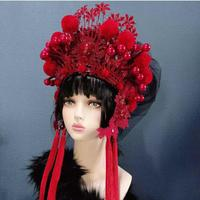 china style opera head wear for women hair accessories Exaggerate Personality Stage Show Model wedding bride hats