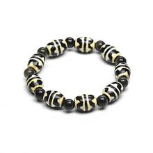Тибетский Двойной Тигр зубы Агат Дзи 8 мм позолоченный обсидиан большой размер браслет для мужчин и женщин амулет ювелирные изделия браслет дзи
