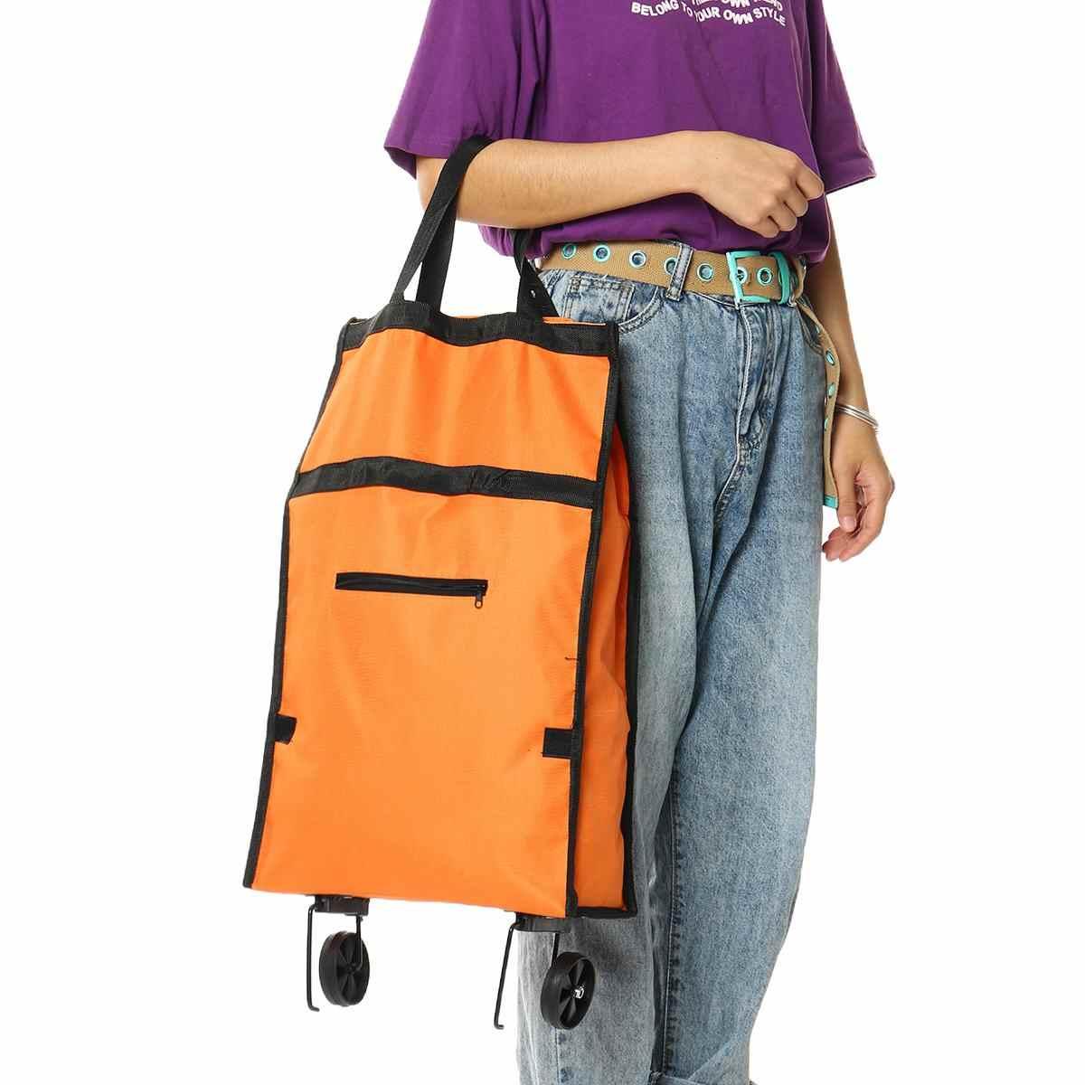 للطي التسوق سحب عربة حقيبة العربة مع عجلات أكياس تسوق قابلة للطي قابلة لإعادة الاستخدام البقالة أكياس الغذاء المنظم الخضروات حقيبة
