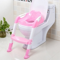 Baby Toilet Seat Kids Folding Potty Trainer Seat Adjustable Ladder Chair Step Children Potty Seat Toilet 2 Colors Baby Care