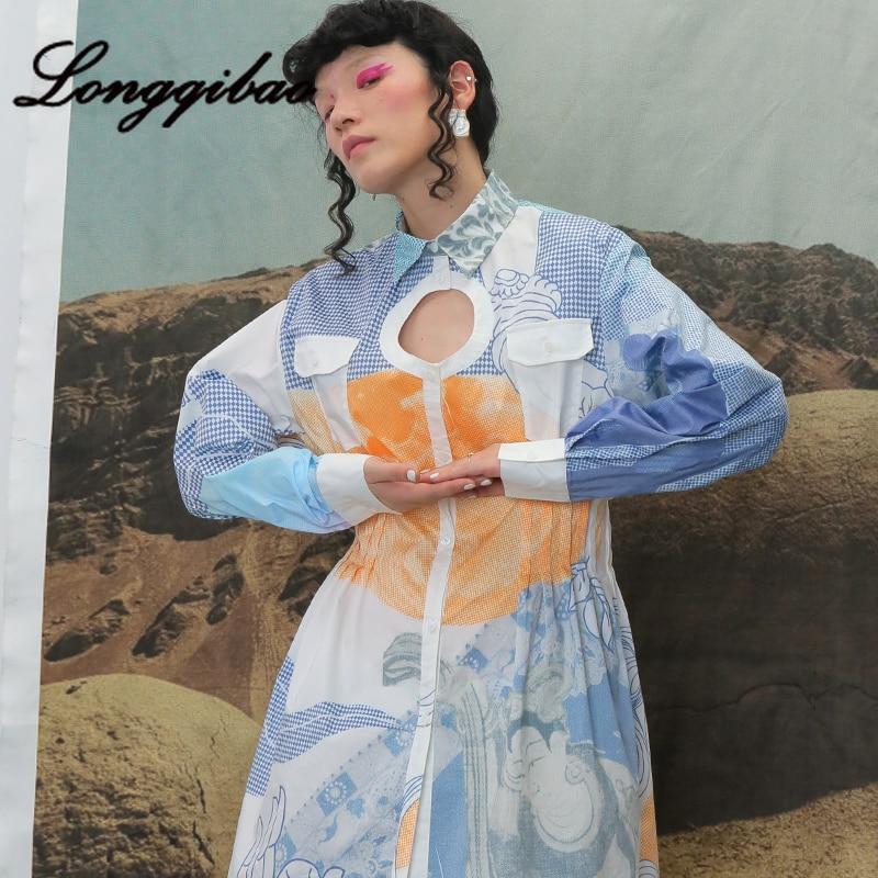 Longqibao frauen Neue Mode Lange ärmeln Gedruckt Geometrische Runde Hohl Plissee Taille Kleid frauen Kleidung Weihnachten Kleid